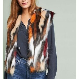 Anthropologie Rosie Niera Colorful Faux Fur Vest